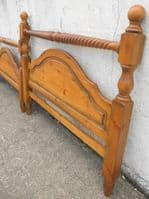 Large Double Bed, Victorian Style, Pine Wood Wide Bed with Slatted Base